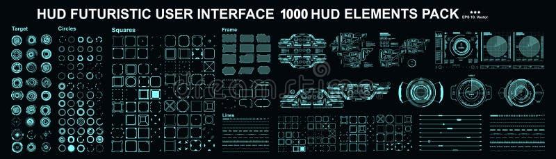 HUD-elementen mega vastgesteld pak Scherm van de de werkelijkheidstechnologie van de dashboardvertoning het virtuele Futuristisch royalty-vrije illustratie