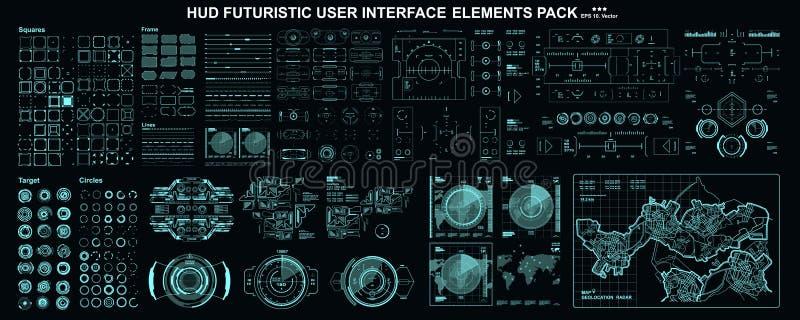 HUD-elementen mega vastgesteld pak Scherm van de de werkelijkheidstechnologie van de dashboardvertoning het virtuele Futuristisch stock illustratie