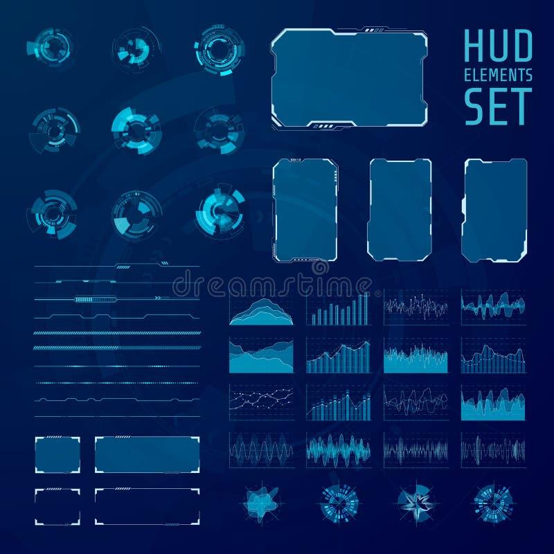 HUD-elementeninzameling Reeks van grafische abstracte futuristische hud pannels Vector illustratie stock illustratie