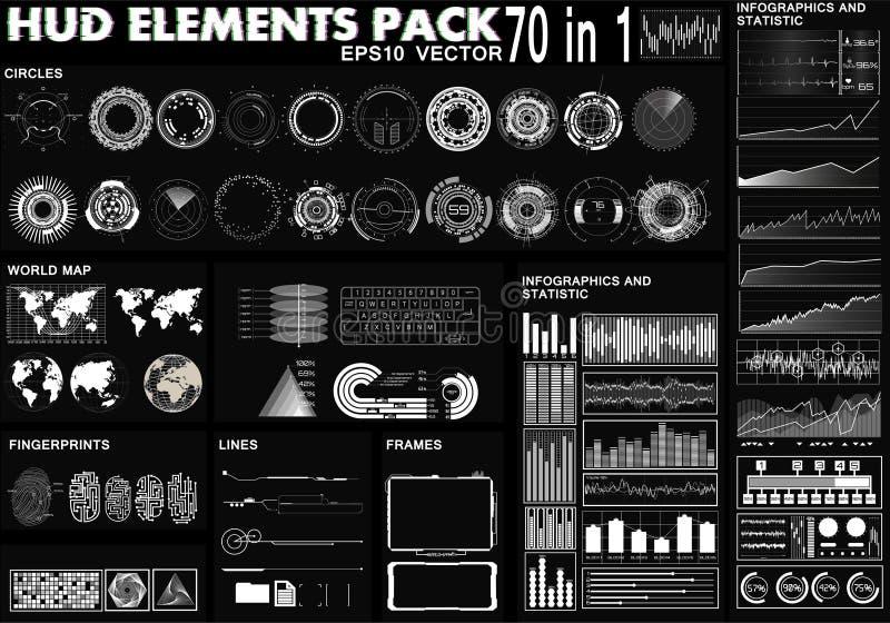 HUD-elementenpak 70 Elementen vector illustratie