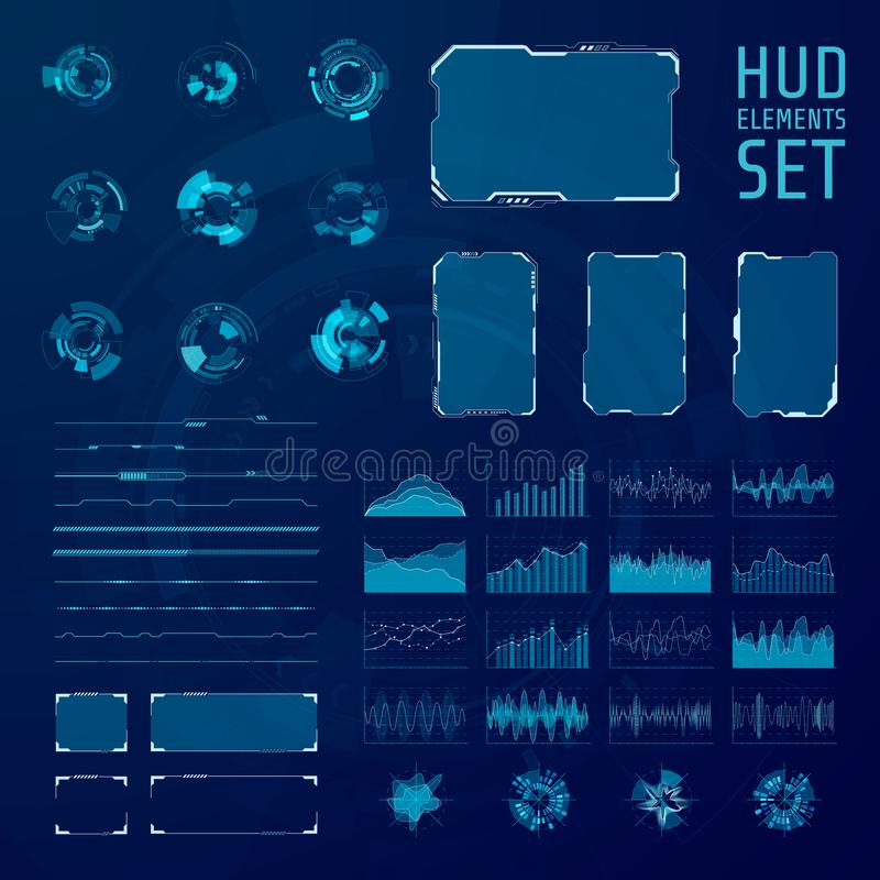 HUD elements collection. Set of graphic abstract futuristic hud pannels. Vector illustration stock illustration