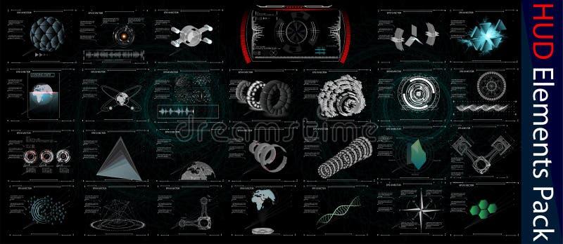 HUD Elements Mega Pack element Sci fi futuristisk användargränssnitt Menyknapp också vektor för coreldrawillustration royaltyfri illustrationer