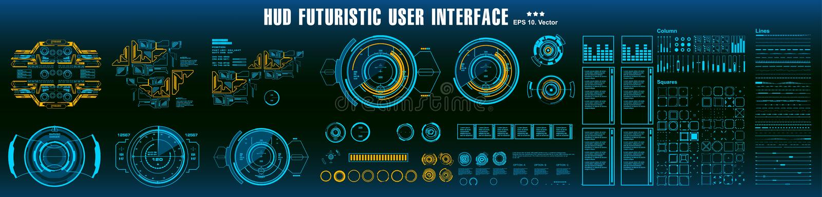 HUD elements mega set pack. Dashboard display virtual reality technology screen. Futuristic user interface stock illustration