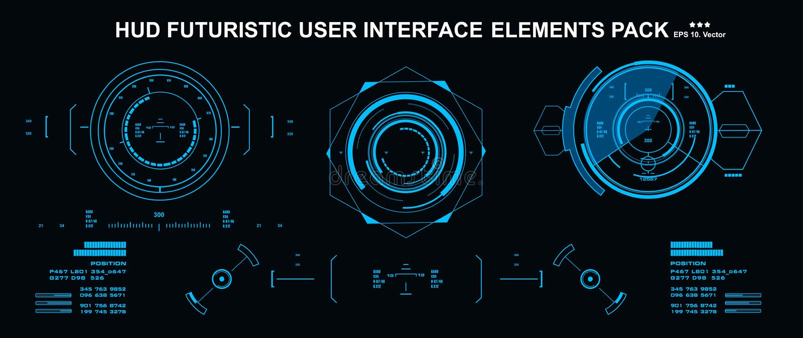 HUD elements mega set pack. Dashboard display virtual reality technology screen. Futuristic user interface. HUD elements mega set pack. Dashboard display stock illustration