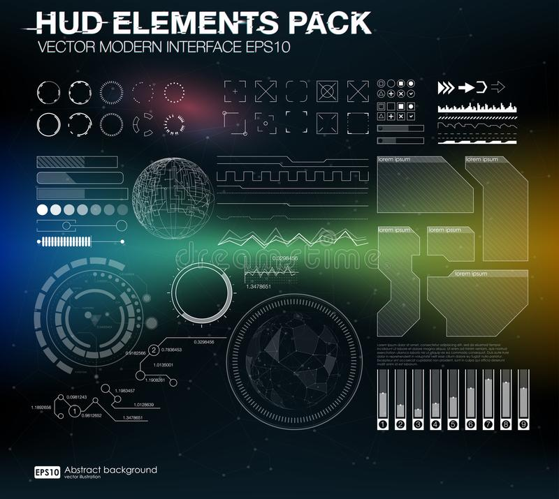 HUD elements pack. Vector modern interface. Abstract background vector illustration. Futuristic user interface. HUD UI UX vector illustration