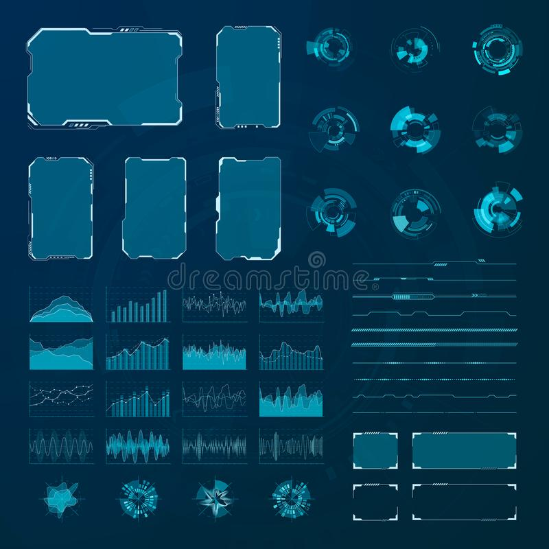 HUD elements set. Graphic abstract futuristic hud pannels. Vector royalty free illustration