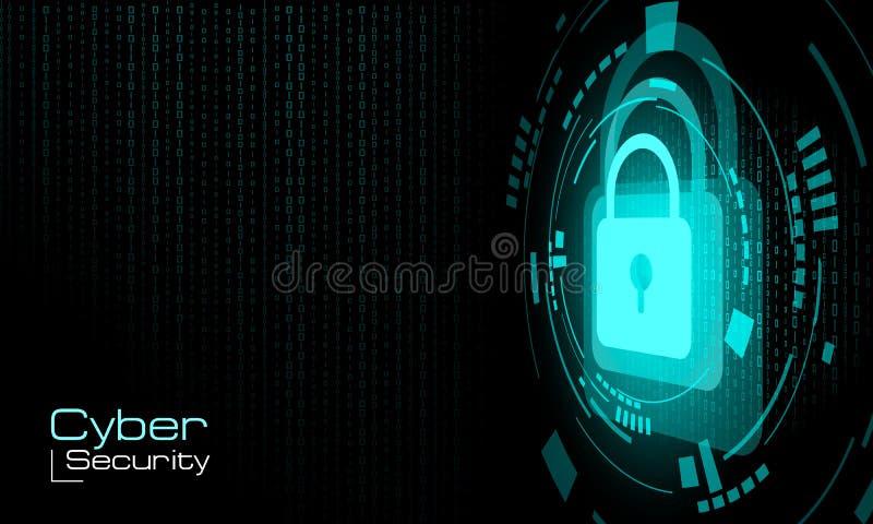 HUD fechou o cadeado azul no fundo do código binário ilustração royalty free