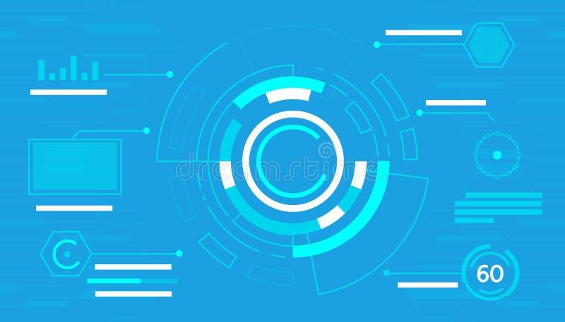 Hud futurista da relação da tecnologia do sumário do painel de controle no fundo azul ilustração royalty free