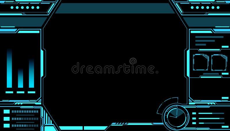 Hud futurista da relação da tecnologia do sumário do painel de controle no fundo preto ilustração royalty free