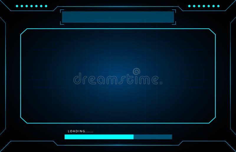 Hud futurista da relação da tecnologia do sumário do painel de controle do quadro no fundo preto ilustração royalty free