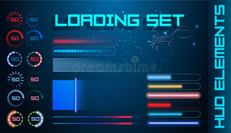 HUD Futuristic Element Loading Bars Set Vector Background. Abstract Big Pack User Interface Progress Monitor Illustration. stock illustration