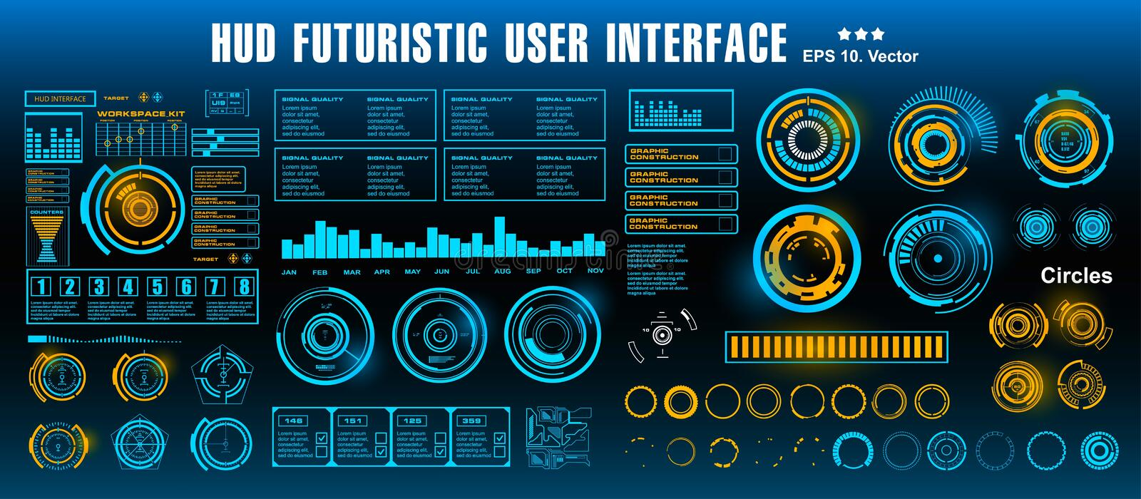 HUD futuristic green user interface, target. Dashboard display virtual reality technology screen royalty free illustration