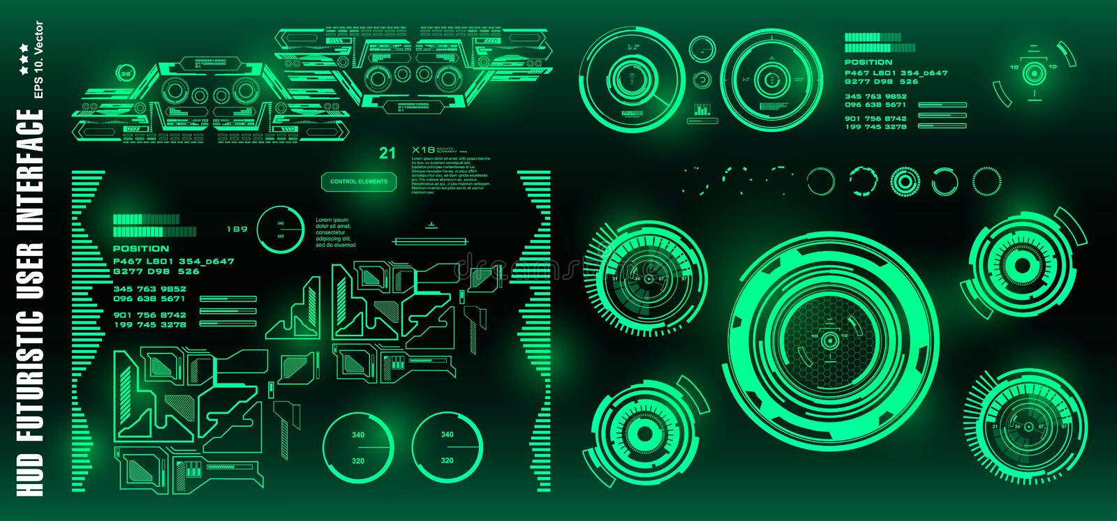 HUD futuristic green user interface, target. Dashboard display virtual reality technology screen vector illustration