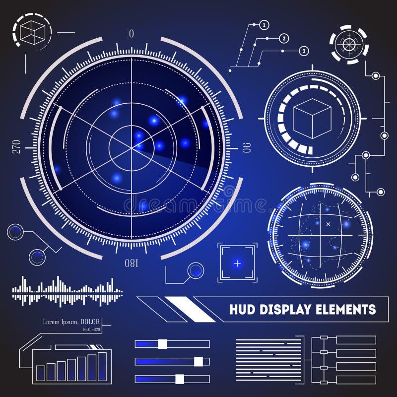 HUD Futuristic Technology Display Element-Satz Vektor lizenzfreie abbildung