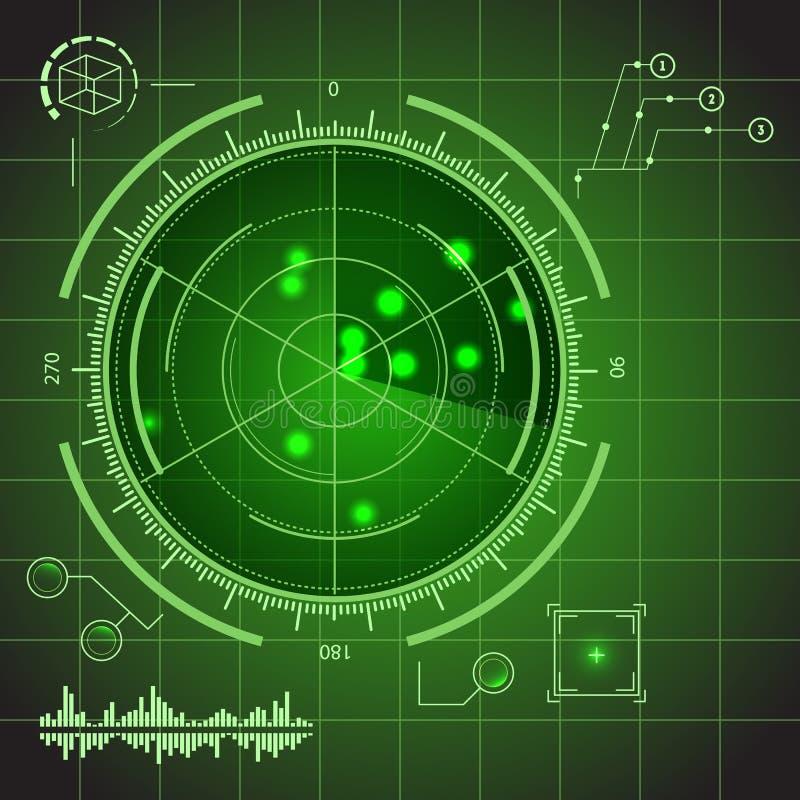 HUD Futuristic Technology Green Display beståndsdeluppsättning vektor royaltyfri illustrationer