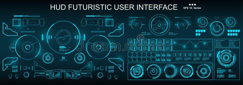 HUD futuristic green user interface, dashboard display virtual reality technology screen. HUD futuristic user interface, dashboard display virtual reality royalty free illustration