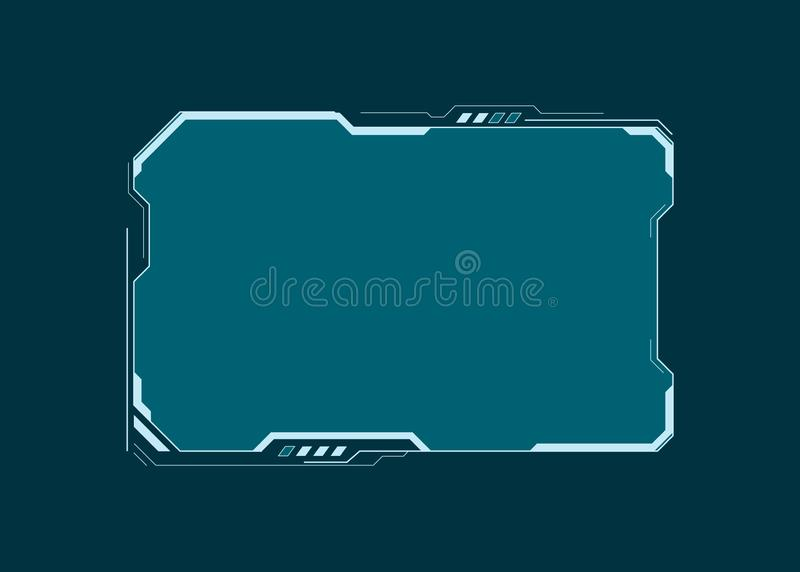 HUD futuristic user interface screen element. Virtual dashboard. Abstract control panel layout design. Sci fi virtual tech display royalty free illustration