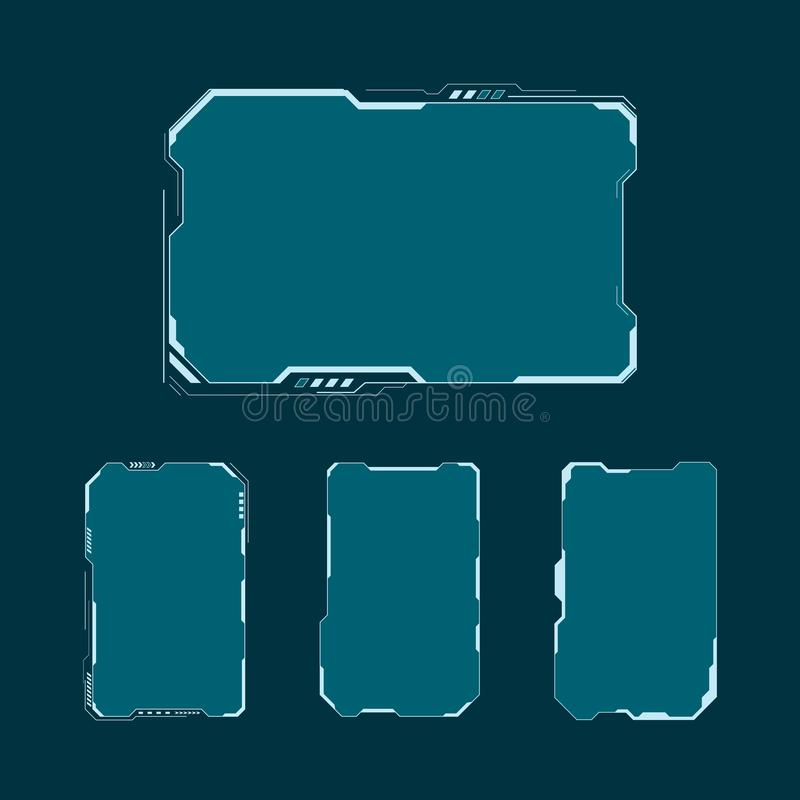 HUD futuristic user interface screen elements set. Abstract control panel layout design. Vector illustration sci fi virtual tech d. Isplay stock illustration