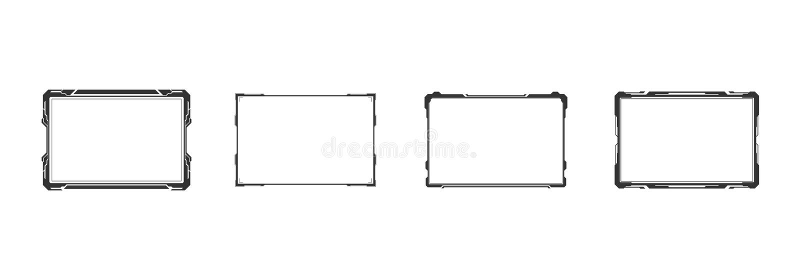 HUD Futuristic User Screen Control manöverenhetsuppsättning Abstrakt faktisk design för begrepp för hologrammålbildskärm stock illustrationer