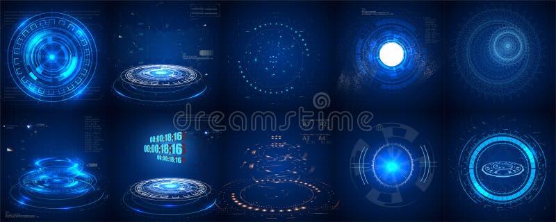 Hud futuristisk beståndsdel Uppsättning av Digital teknologi UI futuristiska HUD för cirkelabstrakt begrepp stock illustrationer