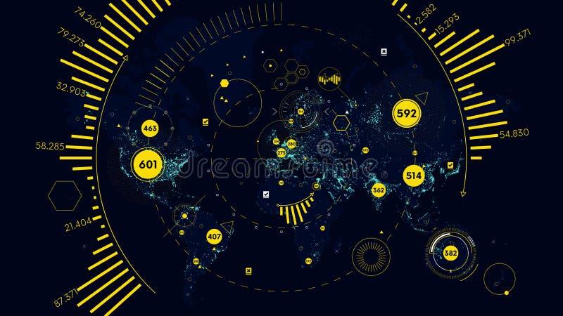 HUD futurystycznego interfejsu globalna technologia i sieć telekomunikacyjna, Wektorowa światowa mapa światowe analityka ilustracja wektor
