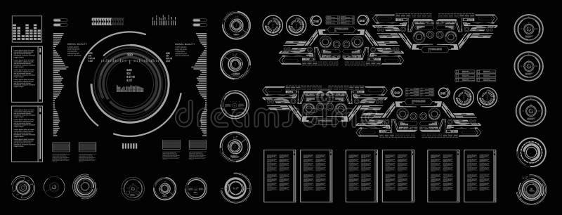HUD futurystyczny interfejs użytkownika, cel Deska rozdzielcza pokazu rzeczywistości wirtualnej technologii ekran ilustracji