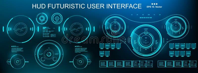HUD futurystyczny zielony interfejs użytkownika, deska rozdzielcza pokazu rzeczywistości wirtualnej technologii ekran ilustracji