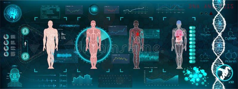 HUD-gezondheidszorga moderne medische interface stock illustratie