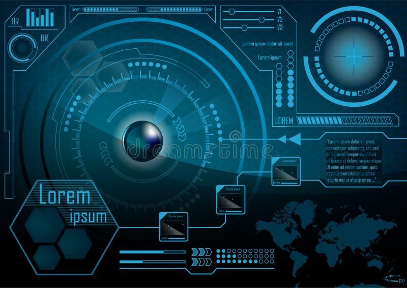 HUD GUI monitoru Radarowy ekran Futurystyczna gemowa technologia zewnętrzny s royalty ilustracja
