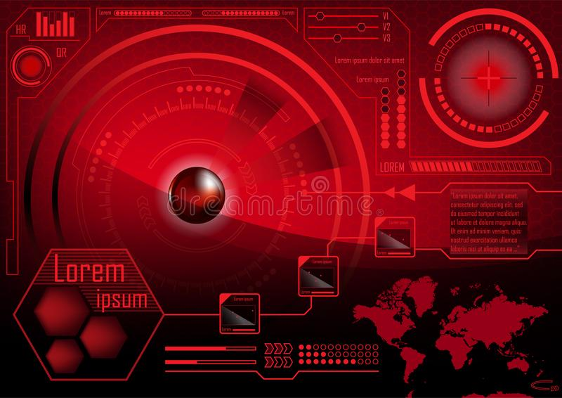 HUD GUI Radar monitor screen. Futuristic game technology outer s. Pace background. Red User interface world map, business abstract infographic template. Virtual stock illustration