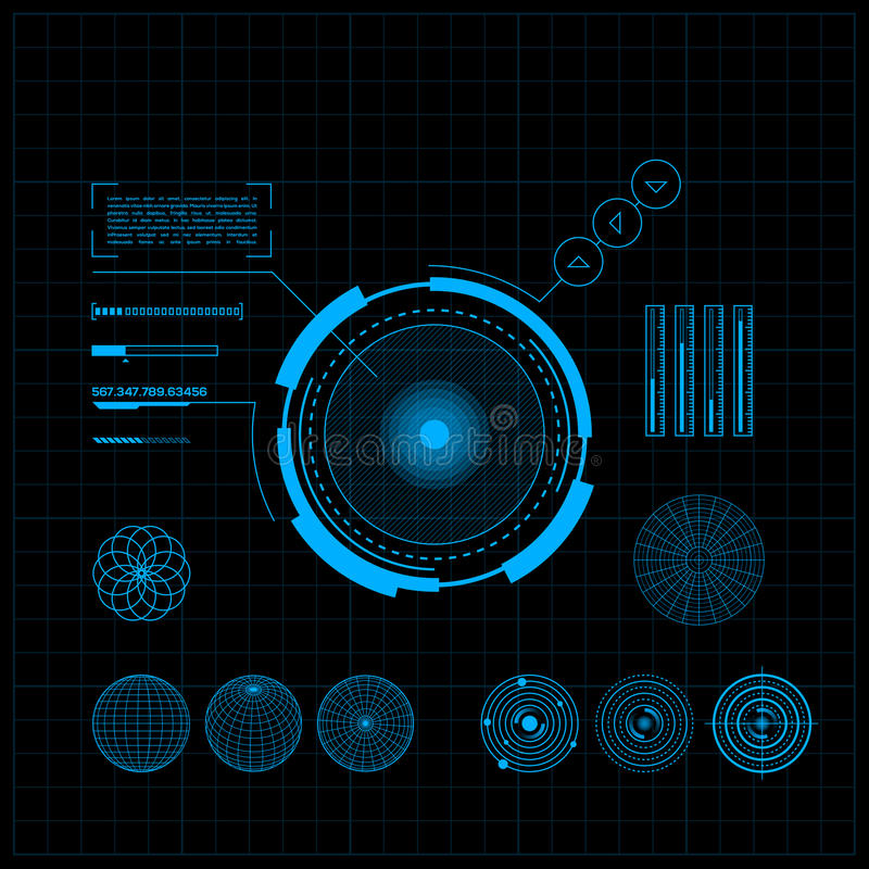 HUD and GUI set. Futuristic User Interface. stock illustration