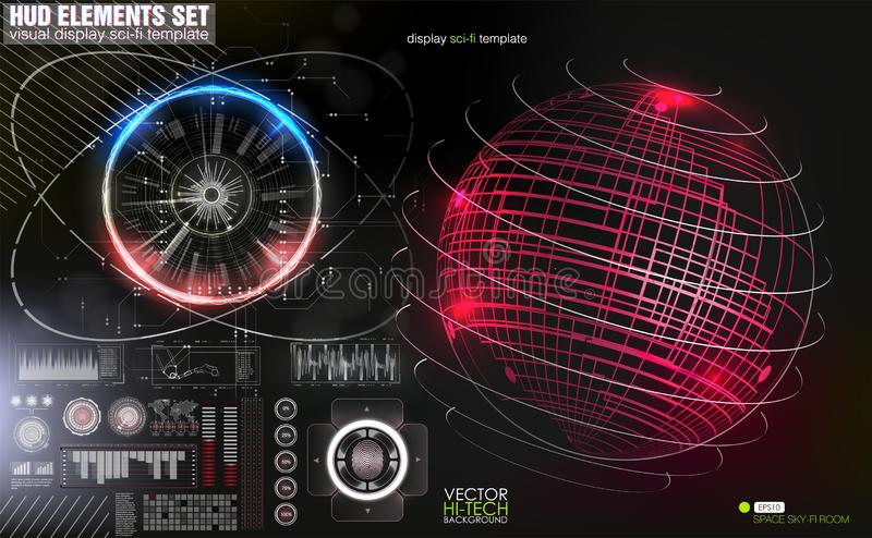 Hud head-up display. Confrontation of the state on the map. Interface of the future, set interface of the tool. stock illustration