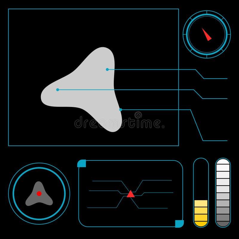 HUD Heads Up Display, el panel de UI ilustración del vector