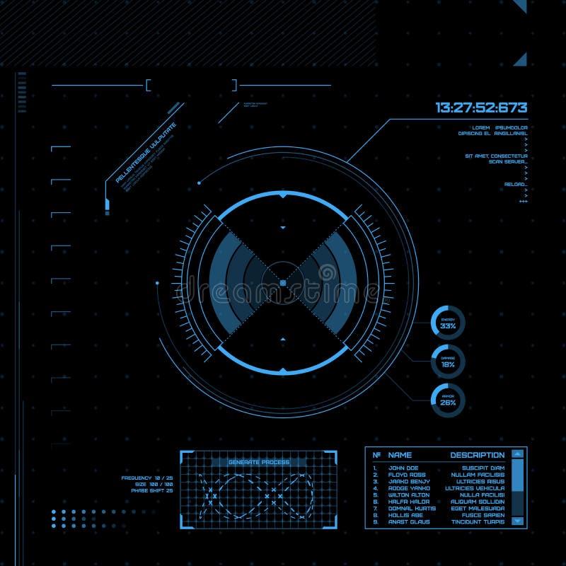 HUD i GUI set. Futurystyczny interfejs użytkownika. ilustracji