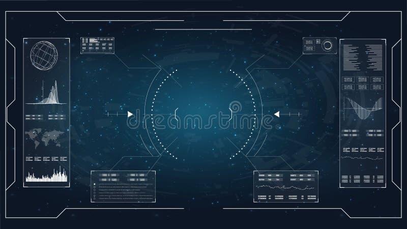 HUD Ilustração para o projeto de conceito HUD Dashboard Display Monitor da tevê do Lcd, ilustração do vetor Jogo de Hud HUD UI ap ilustração royalty free