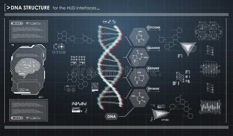 HUD infographic elements with DNA structure. Futuristic user interface. Abstract virtual graphic. Futuristic user interface. Abstract virtual graphic royalty free illustration