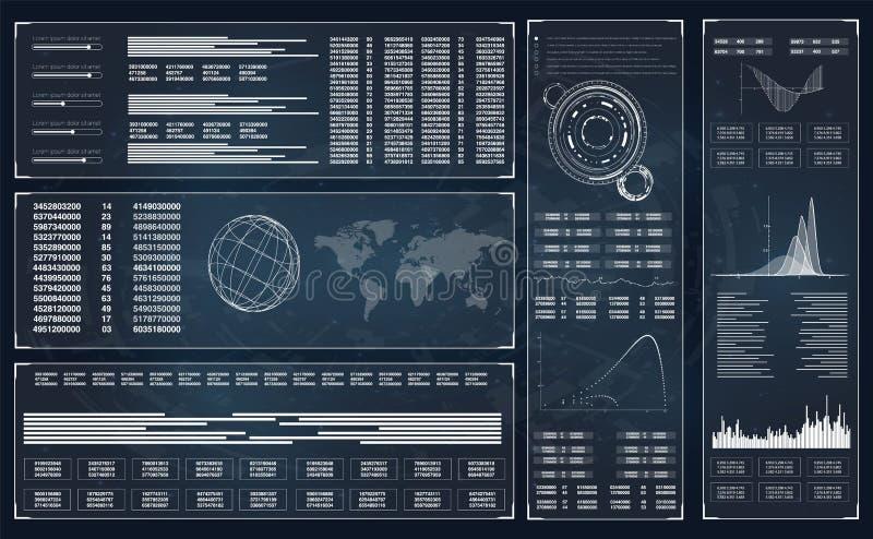 HUD Infographic Fondo futurista de HUD vector del ejemplo HUD Dashboard Display Juego de Hud HUD UI stock de ilustración