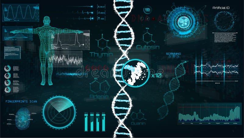 HUD, infographic Schnittstelle DNA stock abbildung