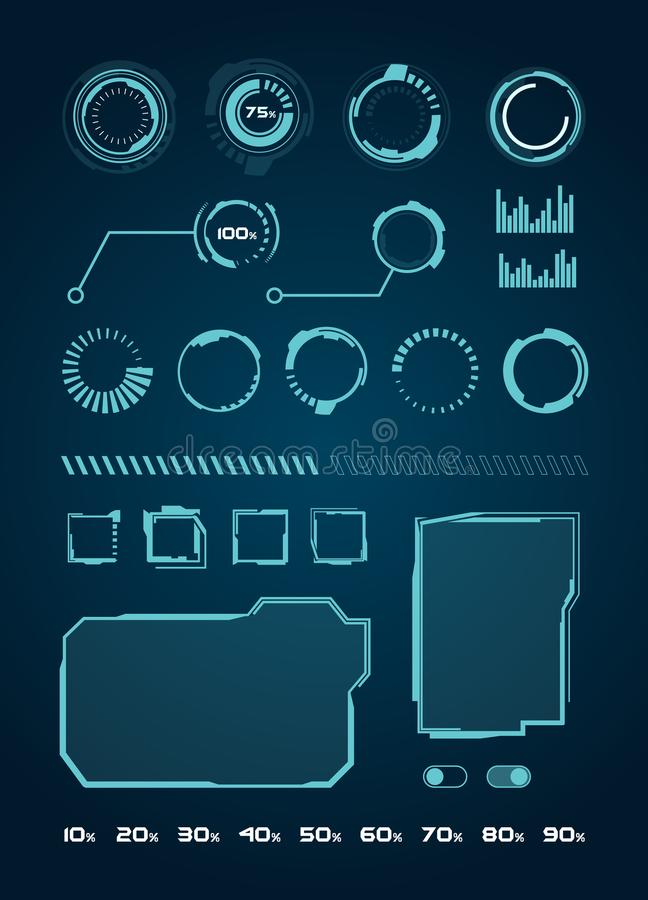 HUD Interface Elements Set, círculos, carga, quadros para as aplicações web, UI futurista - ilustração Vecto ilustração stock