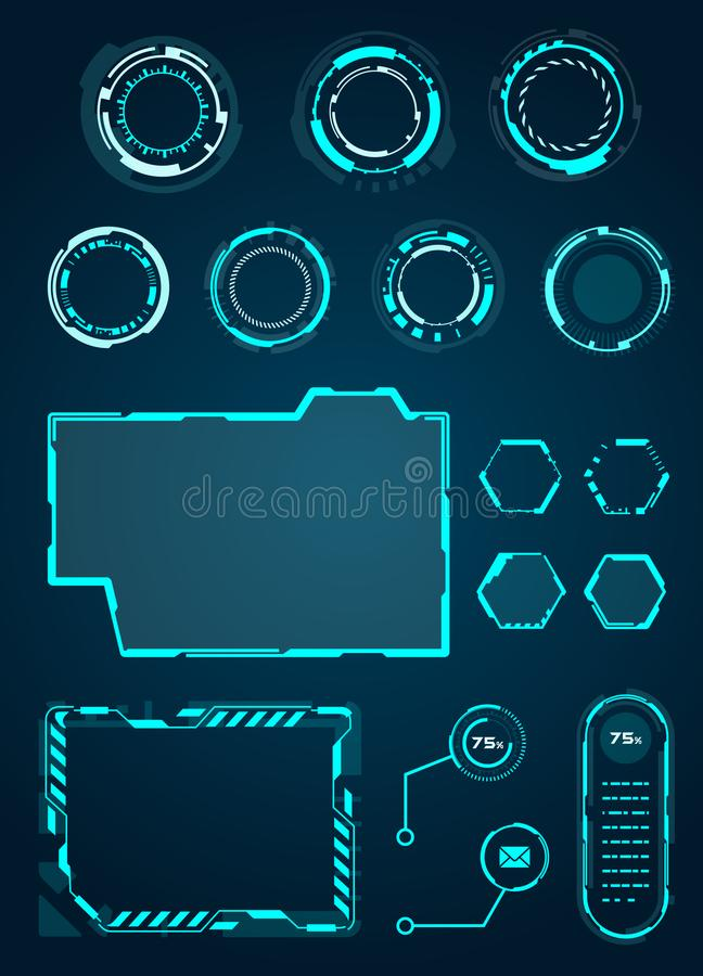 HUD Interface Elements Set, Cirkels, Lading, Kaders voor Webtoepassingen, Futuristische UI - Illustratie Vecto stock illustratie