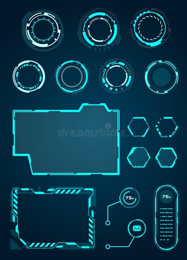HUD Interface Elements Set cirklar, päfyllning, ramar för rengöringsdukapplikationer, futuristisk UI - illustration Vecto stock illustrationer