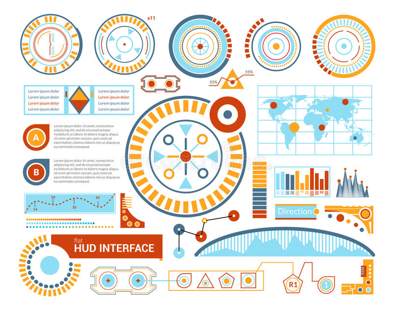 Hud Interface Flat Illustration. Hud virtual gaming panel interface blueprint flat futuristic vector illustration vector illustration