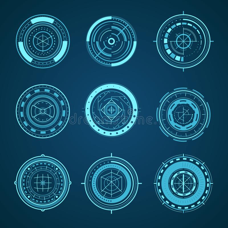 HUD Interface Futuristic Graphic Elements Set. Vector. HUD Interface Futuristic Graphic Elements Group Digital Technology Science Data Concept. Vector royalty free illustration