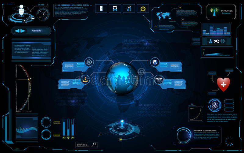 Hud interface global network connection tech innovation concept element template design. EPS 10 vector vector illustration