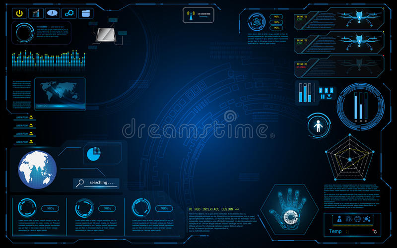 Hud interface graphic system design innovation technology working concept background. EPS 10 vector stock illustration