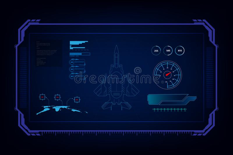 Hud interface GUI futuristic technology jet fighter,vector liiustration vector illustration