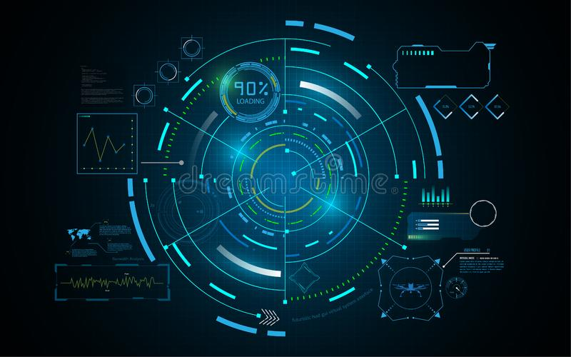 Hud interface GUI futuristic technology networking concept template royalty free illustration