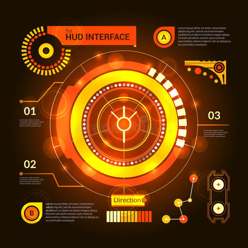 Hud Interface Orange. Orange virtual game hud interface template on dark background vector illustration stock illustration