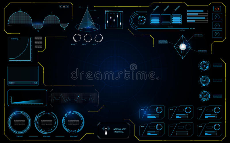 Hud interface UI data technology working screen infographic design concept background stock illustration