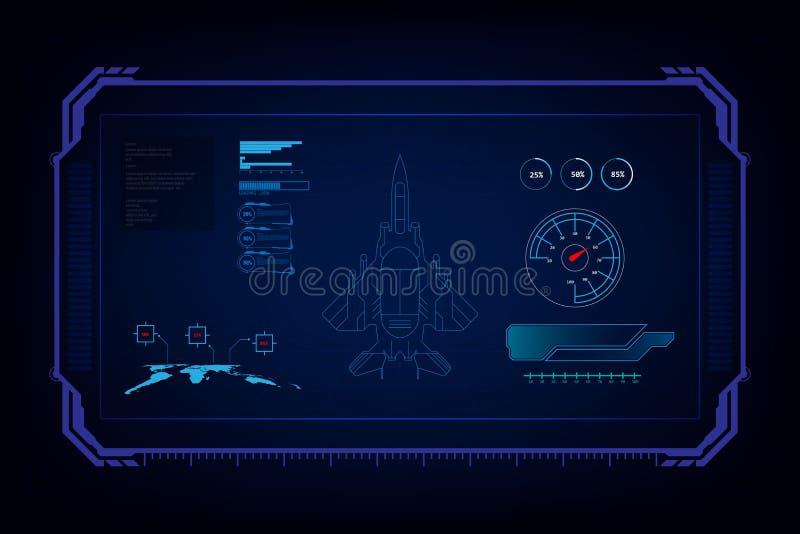 Hud interfejsu GUI technologii futurystyczny myśliwiec odrzutowy, wektorowy liiustration ilustracja wektor